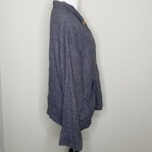 Flax Tops - Flax | Blue Linen Button Up Top | S